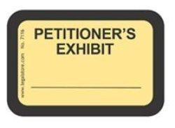 """LegalStore.com Legalstore Exhibit Labels """"petitioner's Exhibit"""" Yellow Laser Compatible On 8.5""""X11"""" Sheets"""