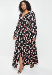 Missguided Plus Plunge Maxi Dress Floral - Red