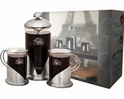 Pura Vida French Press Coffee Maker Set 20 Oz - 4 Level Filtration System - 2 Luxury Mugs - Heat Resistant Borosilicate Glass French