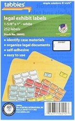 TABBIES Legal Exhibit Label 58092 252 Labels