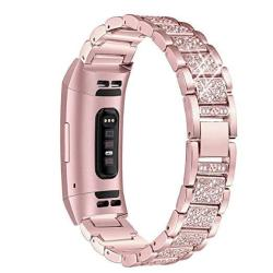 Mtozon Metal Bands Compatible Fitbit Charge 3 Bling Bracelet Dressy Rhinestone Replacement Wristband For Women Silver Black Rose