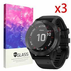 For Garmin Fenix 6 Pro Screen Protector Blueshaw 9H Tempered Glass Screen Protector Fenix 6 Pro Smartwatch - 2019 3 Pack