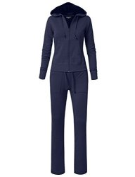 NE People Womens Hoodie And Sweatpants Tracksuit Set Small WTS01-NAVY