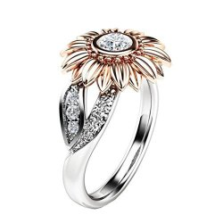 9b9a4672a Lethez Women's Round Diamond Sunflower Rings Two Tone Silver Floral Ring  Promise Wedding Engagement Jewelry Rose Gold 6