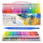 48 Colors Dual Brush Pen Art Markers Non Toxic Water-based Ink 0.4MM FINELINER&1-2MM Brush Tips Contains 8 Sheets Of 300G Waterc