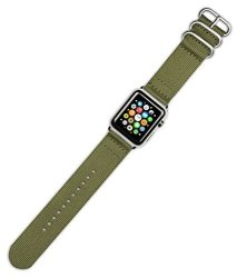 DeBeer Replacement Watch Band - 2-PIECE Nylon - Olive - Fits 38MM Series 1 & 2 Apple Watch Silver A