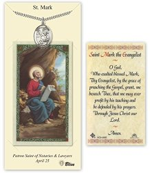 Pewter Saint Mark The Evangelist Medal With Laminated Holy Prayer Card
