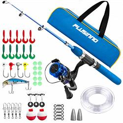 Plusinno Kids Fishing Pole Light And Portable Telescopic Fishing Rod And Reel Combos For Youth Fishing Blue Handle With Bag 115CM 45.27IN