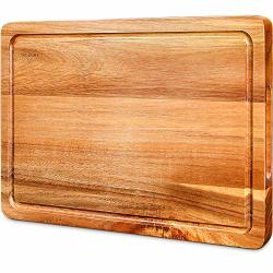 Cutting Board Wood Chopping Boards For Kitchen With Deep Juice Groove Organic Acacia Butcher Block For Meat And Vegetable Wooden Serving Board With Grip