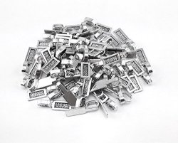 Honbay 60PCS Silver Plated Rectangle Tag Glue On Bail