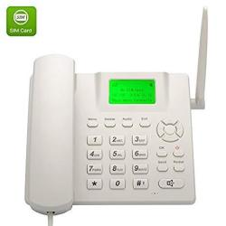 Bw Wireless Quad Band GSM Desk Phone - 2.4 Inch Lcd Screen Rechargeable Battery Caller Id Redial Hands Free Functions - White