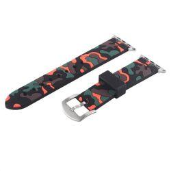 38MM Silicone Strap For Apple Watch - Black & Orange Camo