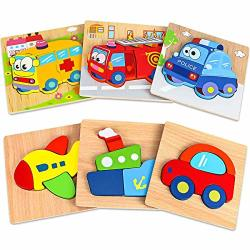 Hzone Wooden Jigsaw Puzzles For Toddlers 1 2 3 Years Old 5 Pack Early Educational Toys Gift For Boys And Girls With Zoo Patterns Bright Vibrant Color Shapes