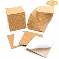 100 Pcs Self Adhesive Cork Sheets 4x 4
