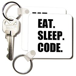 3D Rose Home Improvement 3DROSE Eat Sleep Code - Computer Coder. Programmer. Love To Program. Coding - Key Chains 2.25 X 2.25 Inches Set Of 2 KC_180391_1