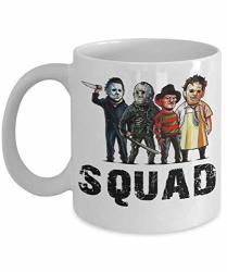 Gearbubble Squad Coffee Mug - Squad Michael Myers Jason Voorhees Freddy Krueger Leatherface - Halloween Squad Horror Movies Tea