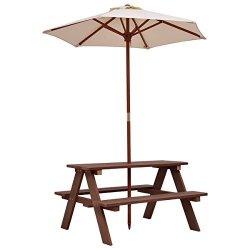Totoshop New Brown Kids Picnic Table Bench W Folding Umbrella Garden