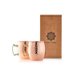 Gin Tribe - Gift Set - 2 X Moscow Mule Stainless Steel Cups - Rose Gold 2 X Rose Gold Copper Straws 2 X