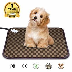 Mospro Pet Heating Pad Electric Warming Mat - Auto Power Off Heated Cat & Dog Bed With Ul Listed Adapter And Chew Resistant Stee