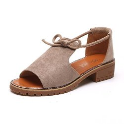 TOPUNDER Ladies Lace Up Sandals Wedge Espadrilles Summer Chunky Holiday Shoes Khaki