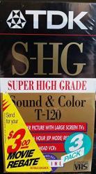 Tdk Super High Grade T-120 Video Tapes 3 Pack