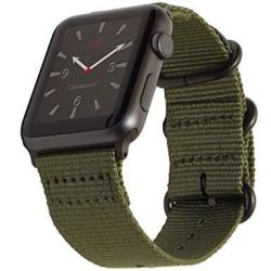 Carterjett Compatible Apple Watch Band 42MM Nylon Olive Iwatch Band Replacement Strap Durable Matte Gray Adapters Nato