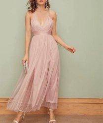Plunging Neck M-slit Mesh Overlay Pleated Slip Formal Dress