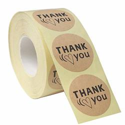 """Baisdy 1.5"""" Kraft Thank You Stickers 500 Labels Per Roll"""