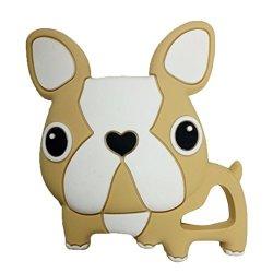 Per Baby Teether Bulldog Shape Teething Pendant Without Rope Biting Toys Bpa Free Gutta Tscha Gum Massager For Newborns Babies-khaki