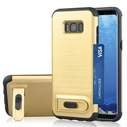 Skinotipewyhm For Galaxy S8 Brushed Texture Tpu+pc Protective Back Case With Holder & Card Slot Black Color : Gold