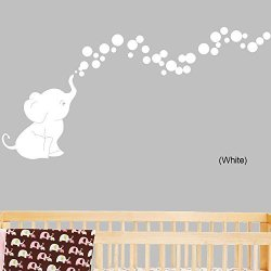 Decal The Walls Elephant Bubbles Nursery Wall Decal Set White