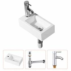 Gimify Bathroom Corner Sink Wall Hung Basin Rectangular Wall Mounted Small Cloakroom Sink Ceramic Modern In White - Faucet & No