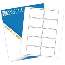 """Online Labels - 3"""" X 2"""" Rectangle Labels - Pack Of 1 000 Labels 100 Sheets - Inkjet laser Printer"""