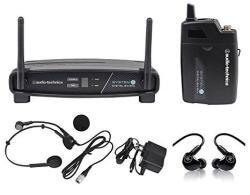Audio Technica ATW-1101 H System 10 Wireless Headset MIC System+mackie Monitors