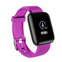 Bakeey D13 1.3 Inch Color Screen Touch Wristband Hr Blood Pressure Monitor Visible Message Show Smart Watch - Purple