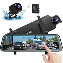 """Mirror Dash Camera For Cars - Akaso 10"""" Backup Camera 1080P Dual Dash Cam Front And Rear Stream Media Touch Screen Dvr With Son"""