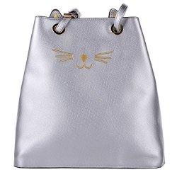 Women's Pu Cat Prick Ear Casual Shoulder Bag Cut Kpling Big Tote Handbag Purse Silver
