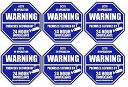 """Security Products Company 6 """"real"""" Blue Octagon-shaped Video Surveillance System Security Door & Window Stickers 3 X 3 Inch 3M Vinyl Decals"""