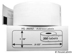 "HouseLabels Dymo-compatible 30252 Address Labels 1-1 8"" X 3-1 2"" -- Bpa Free 12 Rolls 350 Labels Per Roll"