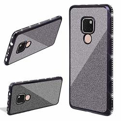 Lchda 2 In 1 Glitter Silicone Case For Huawei Mate 20 Lite Bling Sparkle Diamond Rhinestone Bumper Cute Luxury Sparkle Shockproof Protective Girl Women