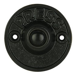 Wired Iron Circular Doorbell Chime Push Button In Black Powder Coat Finish Vintage Decorative Door Bell With Easy Installation