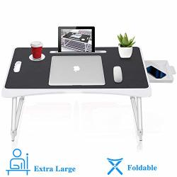 SUNPOLLO Folding Laptop Lap Desk For Bed & Sofa Multi-function Couch Table Laptop Bed Tray Desk With Storage Drawer And Cup Holder For Writing
