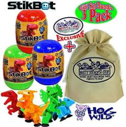 USAB Hog Wild Stikbot Dinosaur Dino Mystery Egg Figures Gift Set Bundle With Exclusive Matty's Toy Stop Storage Bag - 3 Pack Assorted