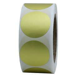 "Hybsk Gold Labels 1"" Round Color Coding Dots Stickers Adhesive Label 500 Per Roll 1 Roll"