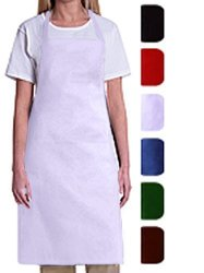 Bib Aprons-mhf APRONS-1 Piece PACK-2 Waist Pockets- New Spun Poly-commercial Restaurant Kitchen- White