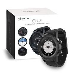 3PLUS Cruz Hybrid Smart Watch With Heart Rate Monitor Pedometer Physical Hands Touch Screen For Android ios In Black