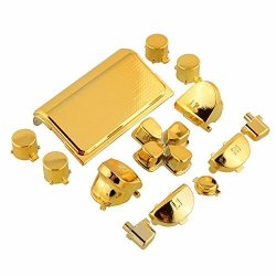 Cleveland Morse Full Buttons Mod Kits Chrome Gold Plating L1 L2 R1 R2 Replacement Full Trigger Buttons Kit For Sony Playstation 4 PS4 Controller 4 With 2 Pcs Springs