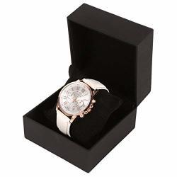 Yuyte Watch Display Case 1PC New Black Pu Leather Watch Present Gift Display Case Bracelet Bangle Jewelry Storage Box