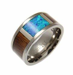 Arthur's Jewelry Genuine Hawaiian Koa Wood Inlay Synthetic Opal Band Ring Titanium Comfort Fit 10MM Size 8