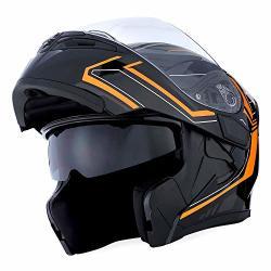 Motorcycle 1STORM Modular Full Face Helmet Flip Up Dual Visor Sun Shield: HB89 Arrow Orange